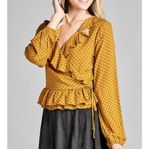 NEW! Mustard Yellow Ruffled Wrap Polka Dot Blouse